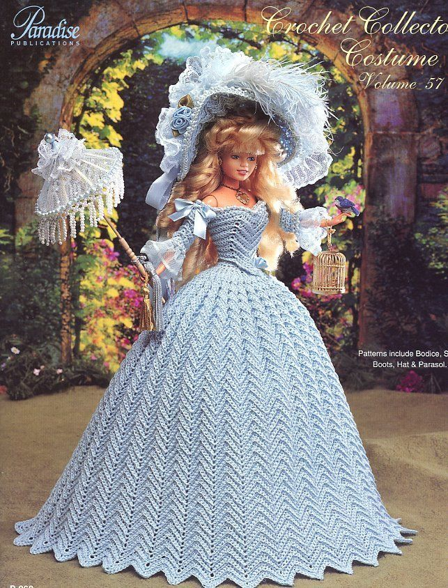 1790 English Country Costume fits Barbie Doll Paradise #57 Crochet PATTERN NEW #ParadisePublications #DollOutfit