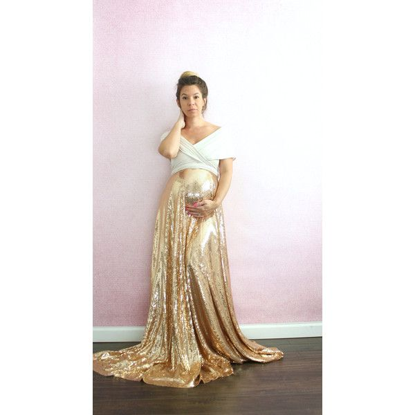 Maternity Dress-Gold Sequin Wedding Dress Full Infinity With Train... ($250) ❤ liked on Polyvore featuring maternity, dresses, silver and women's clothing