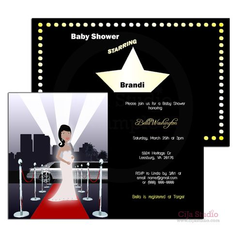 """She's the Star of the Show! A mother-to-be who's looks red carpet fabulous everywhere she goes! Then this is the theme for her. The perfect #invitation to invite everyone in style.   The Red carpet / Hollywood Baby Shower Invitation size is  5"""" x 7""""  All invitations are printed on 110 lb premi..."""