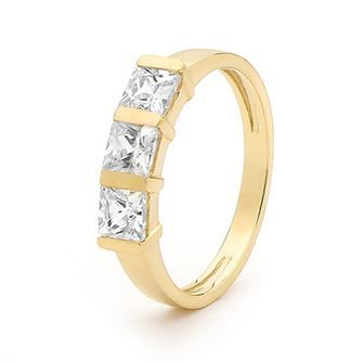 Cubic Zirconia Ring - Three Stone Eternity - BEE-23522-CZ