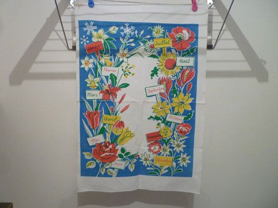 Vintage French tea towel dish cloth seasonal flowers by VeriGoude