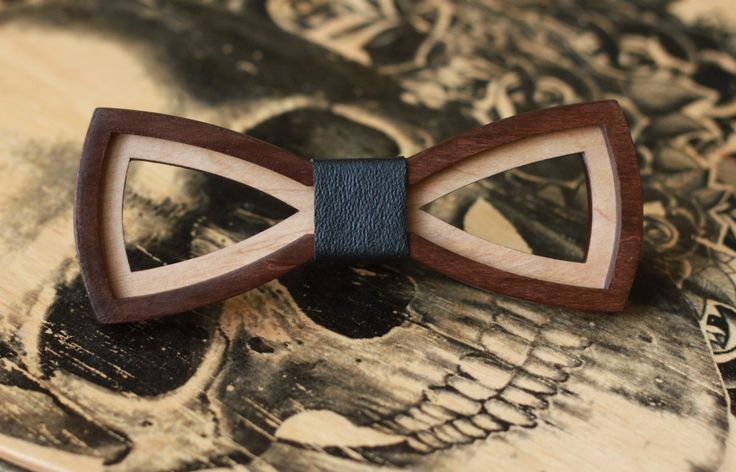 3D Wooden Bow Tie for man with black leather. Best birthday gift for boyfriend…
