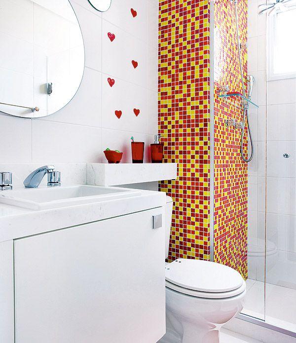 Ideias para decorar um banheiro pequeno Fonte httpwwwportaldecoracaoco -> Decoracao De Banheiro Pequeno