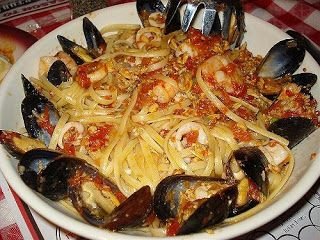 Copycat: The Linguini Frutti di Mare at Buca di Beppo Restaurant contains shrimp, baby clams, mussels and calamari tossed in a spicy red clam sauce over pasta.
