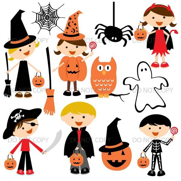 Halloween Clipart, Cute Halloween Graphics, Kids Costume Party Scrapbook Clip Art for Commercial Use RP-141 by ArtAmoris on Etsy