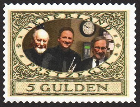 """Netherlands' 5-gulden """"Star Wars"""" stamp with John Williams, Michael Myers and Steven Spielberg"""