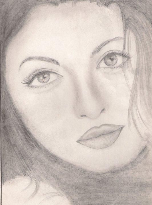 my first fine sketch ..AishwarYa - Sketching by rashi sagar in old ones!! at touchtalent