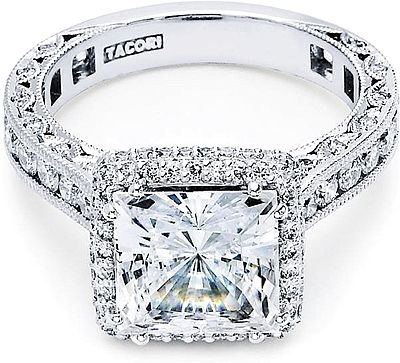 Tacori RoyalT Princess Cut Halo Diamond Engagement Ring  : From our RoyalT Collection this unique princess cut engagement ring has 1 1/2 carats in the setting alone! For the platinum princess this amazing design will sparkle with every beat of your heart. Our signature crescent silhouette design creates stunning profile to last a lifetime.
