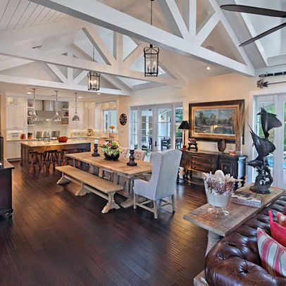 The Beams The Long Layout Galley Kitchen Into Dining Room With Trestle Tabl