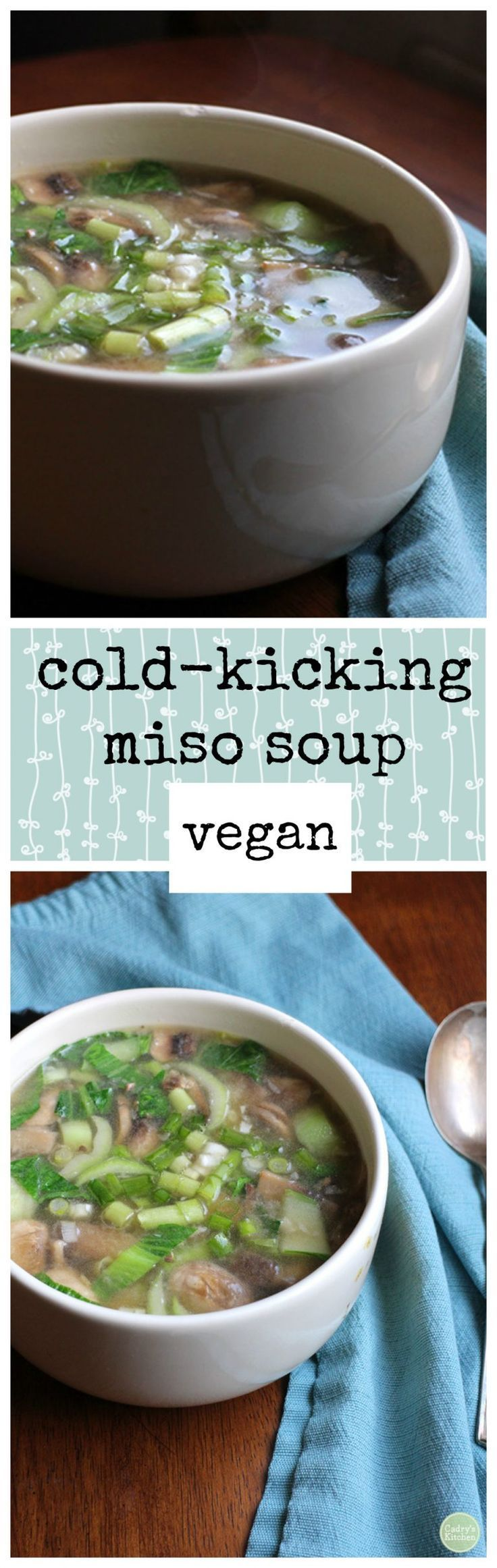 This cold-kicking miso soup is soothing to the throat and body. It's brimming with mushrooms, bok choy, and garlic. | cadryskitchen.com #vegan #soup #miso