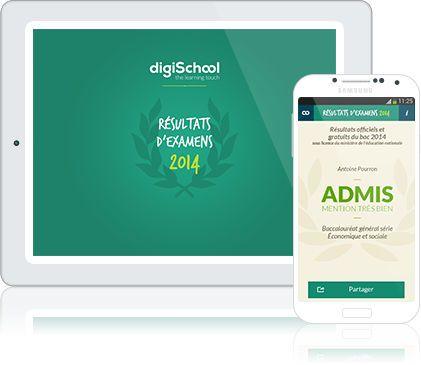 Tu as passé les épreuves de Brevet ou du Bac le mois dernier ? Télécharges l'applicationDigischool pour connaitre les résultats !  Description deDigisch