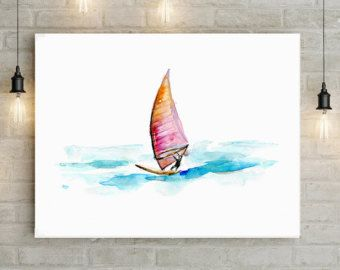 WindSurf schilderij aquarel Giclee Print surf tekening waterverf zee surfen kunst sport schilderij zee blauw surf kunst Michelle Dujardin