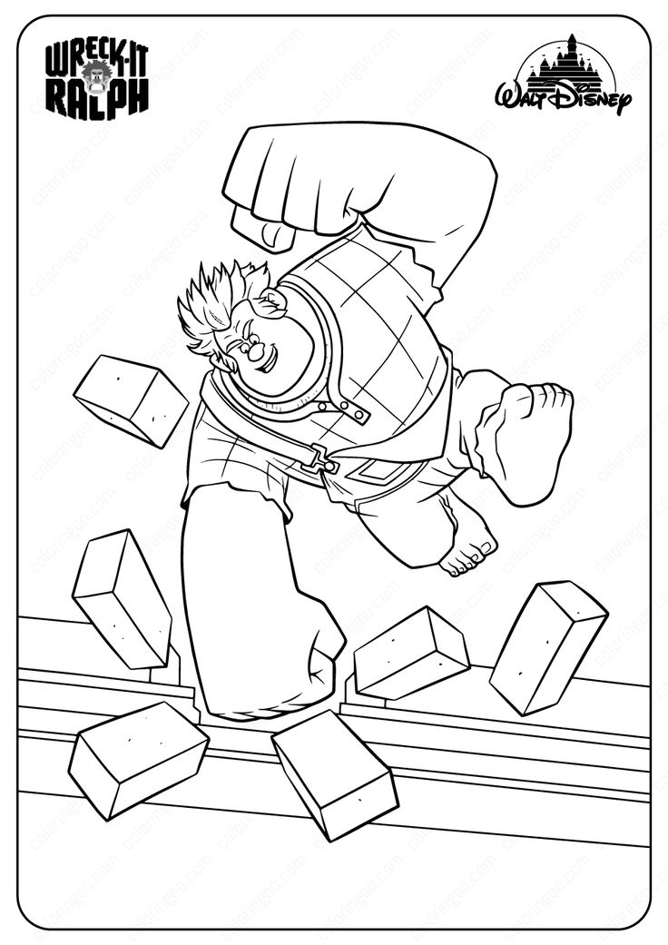 Wreck It Ralph Coloring Pages wreckitralph ralph disney