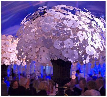Paper Flower Centerpieces.    Designer David Stark.