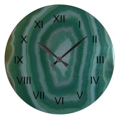 Green Agate image with Black Roman Numberals Large Clock  $33.45  by UntamedPhrase  - custom gift idea