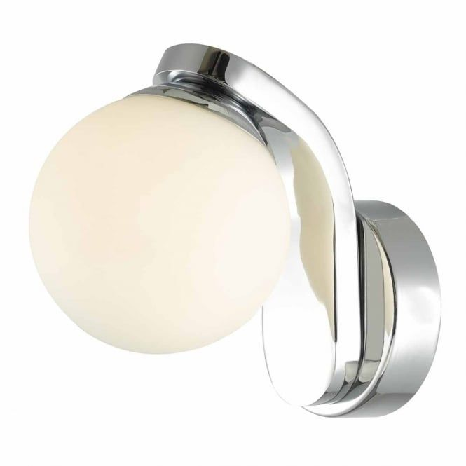 A single polished chrome bathroom wall light with an opal glass globe shade, this would be great for lighting in a contemporary bathroom.This light is individually switched by a pull cord.It is IP44 rated making it safe for use in bathroom zones 1, 2 and 3.