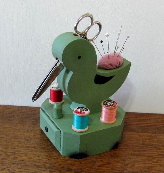 Green Vintage Wood Duck Sewing Caddy -- this is what my mom had!!!  I would love it!!!