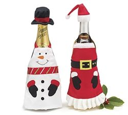 Tie one of these adorable Christmas aprons around any bottle for a playful decoration. Available in either a snowman apron and matching hat or Santa and matching cap. Can't decide order a set of each and save.