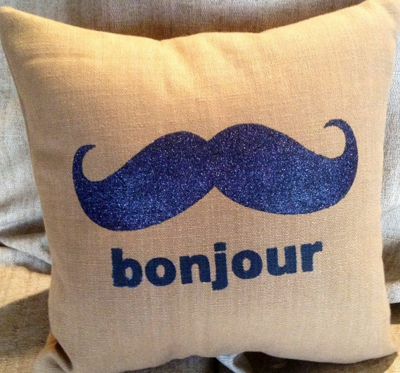 Bonjour mustache pillow by MyPillowShoppe on Etsy, $28.00