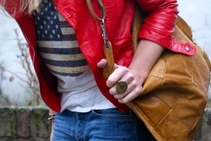 Vintage bag, clock ring, red leather jacket, american flag. Madstyling
