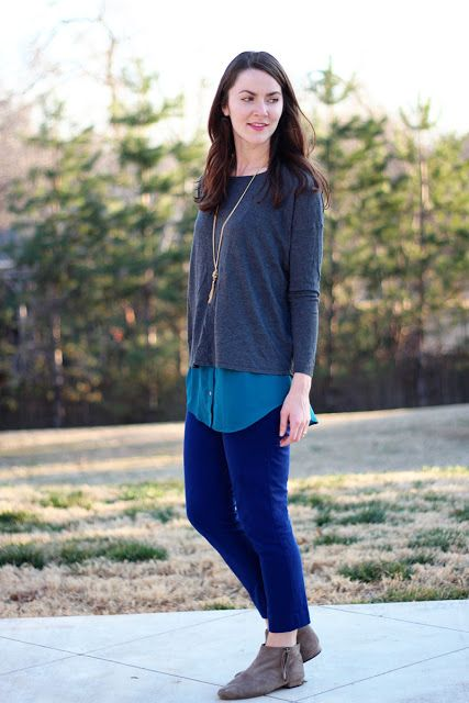 cobalt pants with blue and gray