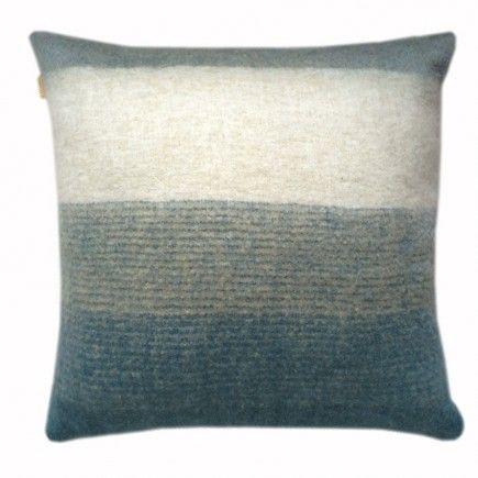 Indigo mohair cushion front