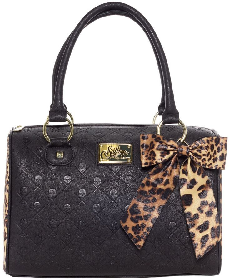 SULLEN LEOPARD LOGO HANDBAG I don't know about you, but my favorite color is leopard. Now add the Sullen skull and paintbrush logo to that equation and proceed to swoon! This handbag has plenty of room to hold all of your goodies and features leopard print side paneling. There's also removable leopard print bow, so you can adjust the cuteness level according to your day of course! $65.00 #sullen #leopard #purse #handbag #tote #pinup #alternative