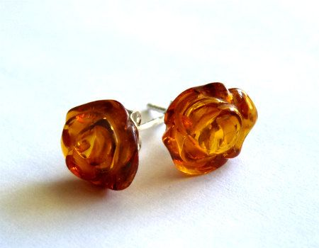 Baltic Amber Stud Earrings Roses 925 silver by AmberRegina on Etsy, $15.80