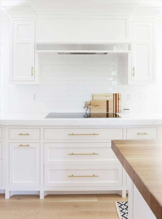 High Quality White Kitchen Cabinets With Long Brass Pulls, Transitional, Kitchen,  Benjamin Moore Chantilly Lace