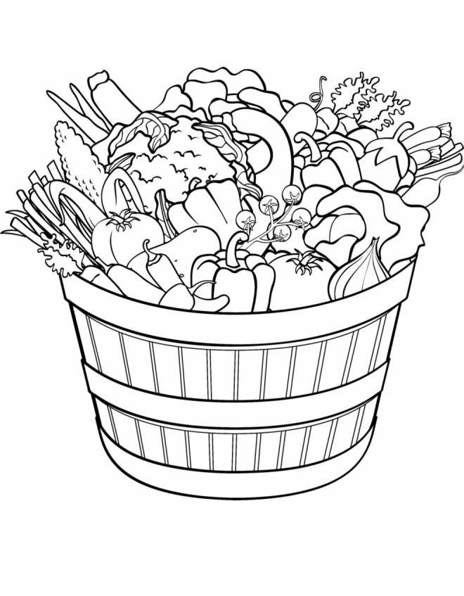 Disegno cesto di ortaggi e verdure disegni da colorare e for Disegni di lupi da stampare