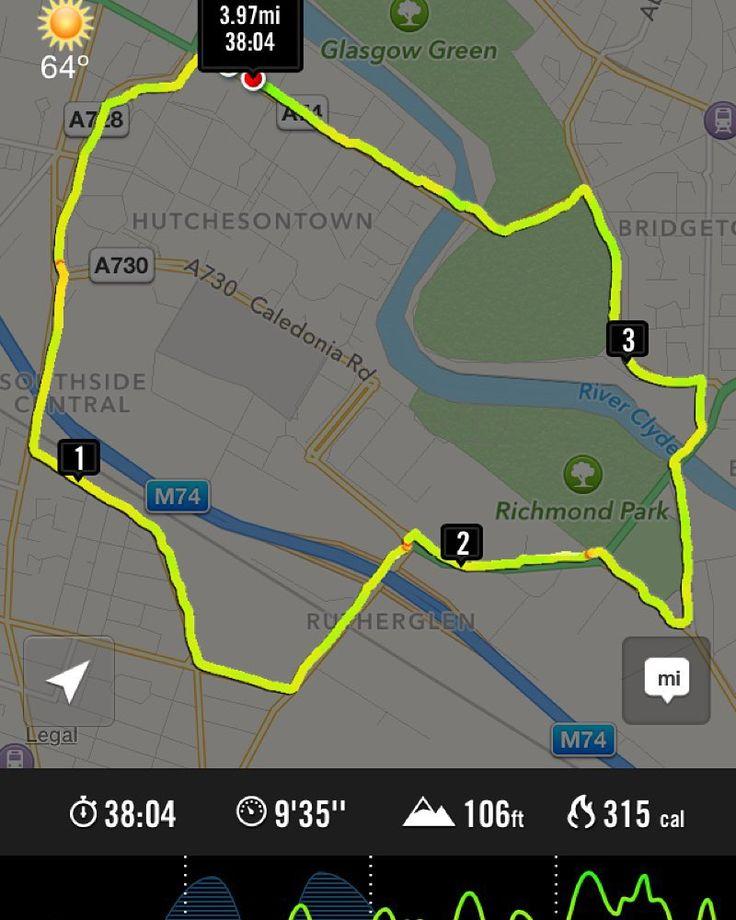 Penultimate run before my next 10k race. #running #greatscottishrun #glasgow #nikeplus #thisgirlcan