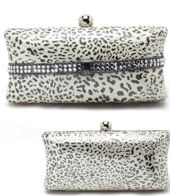 Amazon.com: AS SEEN BY CELEBRITIES Leopard w/Crystal & Rhinestone Accents BLING Hard Case Clutch Evening bag w/Clasp closure by Jersey Bling: Clothing