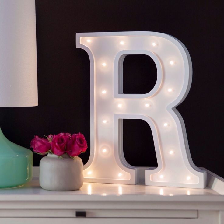 Little letter light co 39 s battery operated white letter for Bedroom night light