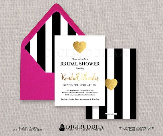 Kate Spade Inspired Black & White Stripe Bridal Shower Invitation Gold Heart Modern Faux Foil Wedding Invite FREE PRIORITY SHIPPING or DiY Printable- Kendall style available at digibuddha.com