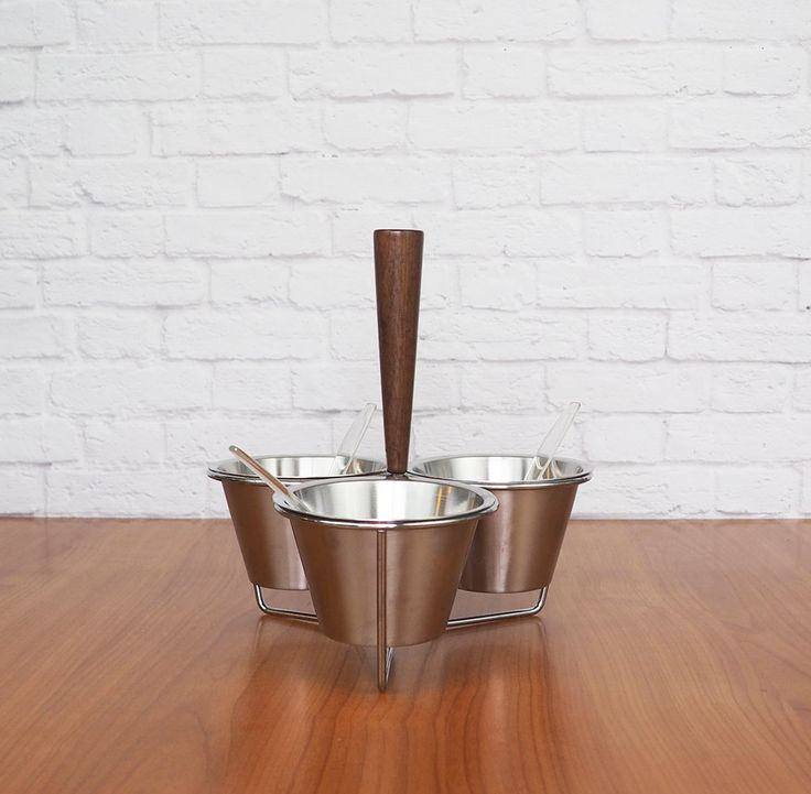 Danish Modern Condiment Caddy, Relish Tray, Condiment Set, 18/8 Stainless Steel with Teak Handle, Mid Century by FireflyVintageHome on Etsy