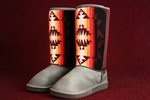 Womens Size 7 Grey Boots w/ the Maroon Native American Pattern – Charm's Native Boots: http://www.charmsnativeboots.com/products/womens-grey-fashion-boots-with-the-maroon-native-american-pattern -  First Nations, aboriginal, American Indian, Navajo, Aztec, Indigenous. Fashion Boots.