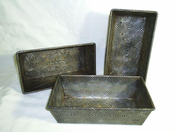 Vintage Ovenex Loaf Pans With Starburst Pattern Lot of 3 N-7 1 Pound Loaf Pan