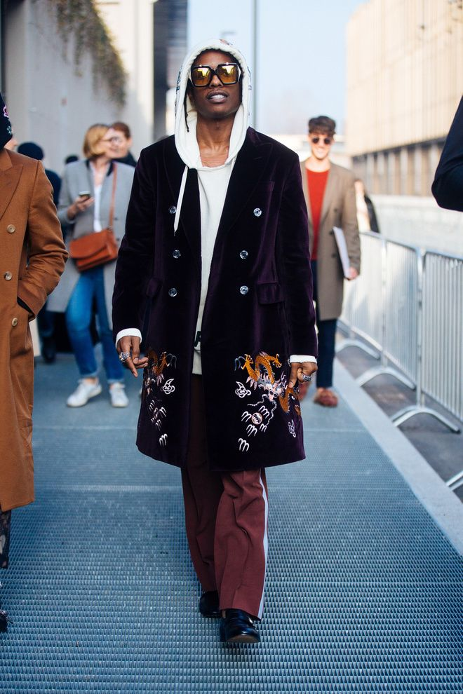 Asap Rocky in Gucci - on the streets of Milan Fashion Week Fall/Winter 2017-2018.