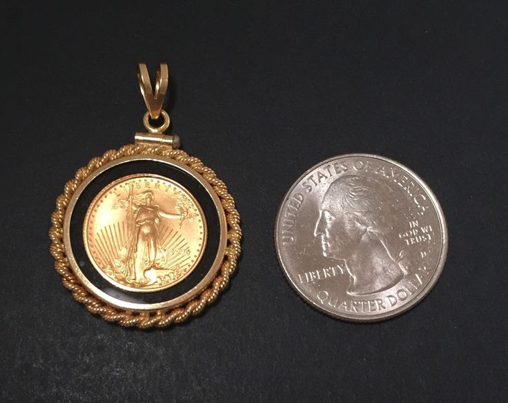 1996 5 American Eagle 1 10 Oz Fine Gold Coin Pendant In Onyx 14k Rope Bezel Coin Pendant