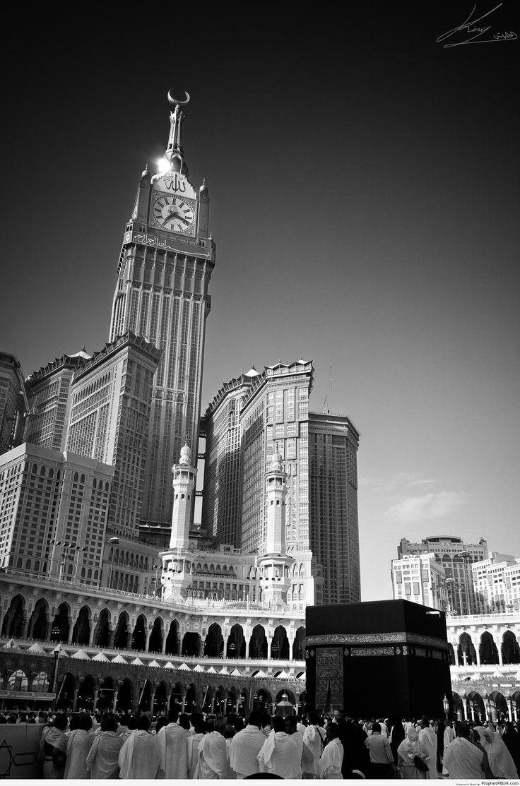Black and White Shot of Masjid al-Haram and the Kaba - al-Masjid al-Haram in Makkah, Saudi Arabia -Picture