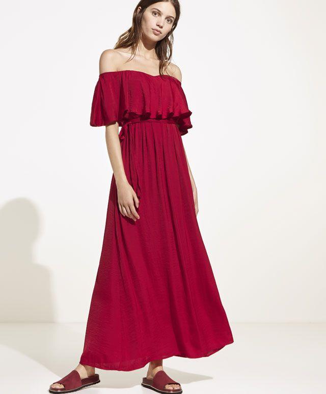 Volanlı saten elbise, 159.95TL - Saten uzun elbise. Kolları volanlı. Elastik bel ve ayarlanabilir kuşak - Oysho online mağazada kadın modasında Ilkbahar yaz 2017 trendleri.