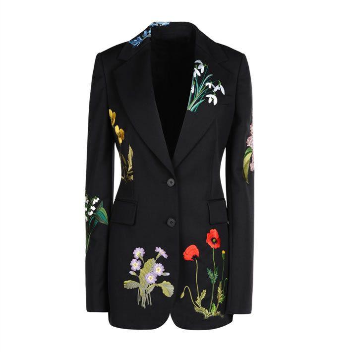 Хочу такой пиджак. Черный пиджак блейзер женский с вышивкой с Aliexpress