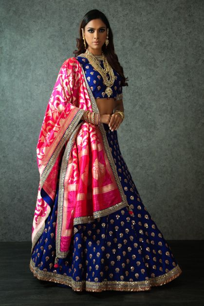 Light Lehengas - Indigo Blue Lehenga with Scattered Gold Motifs and Silk Pink Dupatta | WedMeGood #wedmegood #lehengas #indianbride #indianwedding #indianlehenga #silk