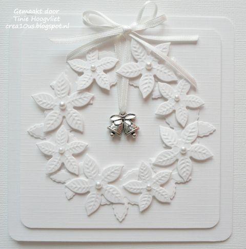 handmade Christmas card from crea10us: kerstkaarten ... white on white ... wreath of die cut poinsettias ... pearl centers ... beautiful!
