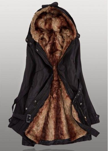 Hooded Collar Zipper Closure Black Parka Coat