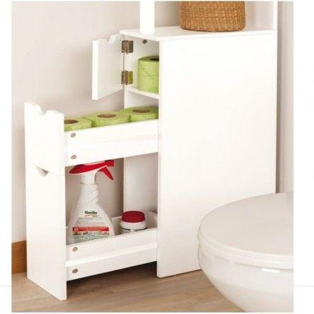 Meuble de rangement, très compact, dimensions 136 x 33 x 15 cm. En bois. Utilisable dans votre salle de bain ou vos toilettes. Equipé de 2 tablettes (3...