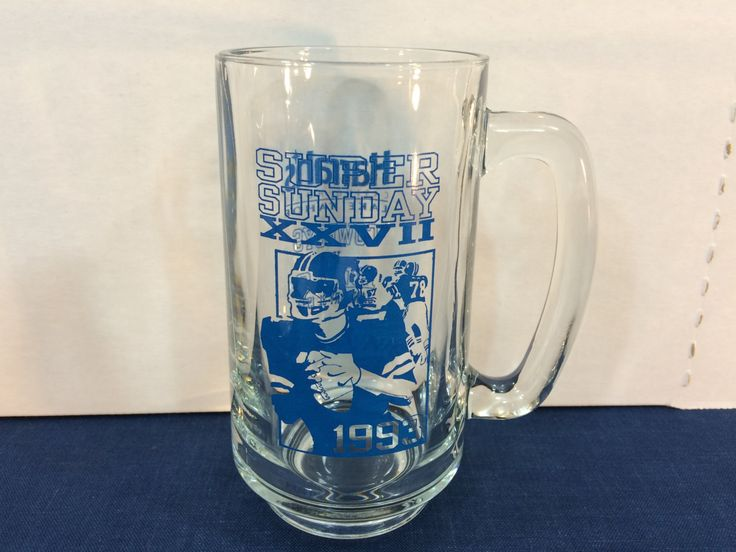 1993 Super Bowl XXVII Beer Mug Harrahs Casino Hotel Lake Tahoe Cowboys Vs Bills January 31, 1993 by AdoptAKeepsake on Etsy