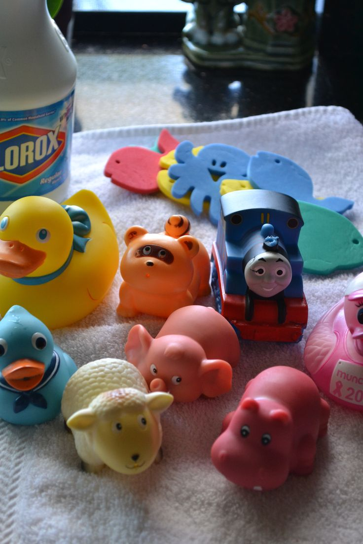 One Way to Clean Bath Toys-Another way to clean the squirty toys is mix ¾ cups of Clorox® Regular-Bleach per gallon of water. Soak pre-washed toys 5 minutes. Rinse and let air dry. Make sure you rinse it out a few times to get the bleach out of the toys. Important to do to keep your kids safe. Mold builds up inside bath toys.