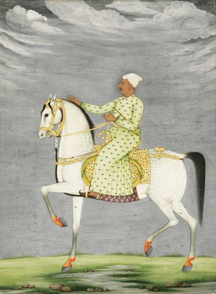 An equestrian portrait of a Nawab riding a grey stallion, signed by Muhammad Reza-i Hindi, Mughal, possibly Oudh, dated 1177 AH/1763-4 AD   lot   Sotheby's:
