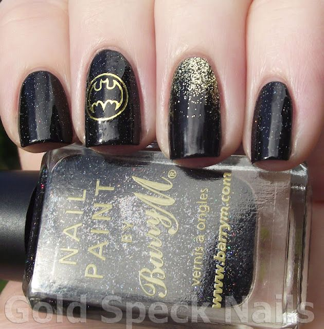 Gold Speck Nails: Batman Nails (mark would love this to much)